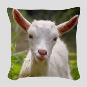 Baby goat Woven Throw Pillow