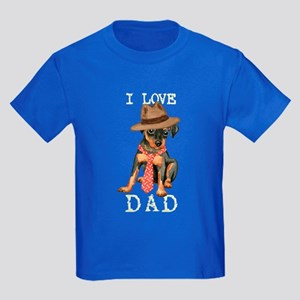 Min Pin Dad Kids Dark T-Shirt