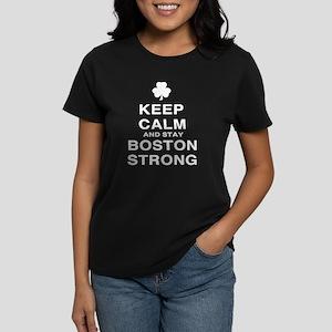 Keep Calm and Boston Strong Women's Dark T-Shirt