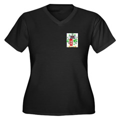 Cassel Women's Plus Size V-Neck Dark T-Shirt