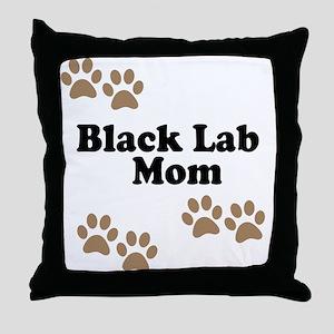 Black Lab Mom Throw Pillow