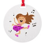 Happy dancing girl in hot pink Round Ornament