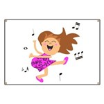 Happy dancing girl in hot pink Banner