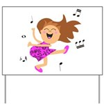 Happy dancing girl in hot pink Yard Sign