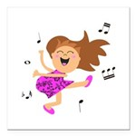 Happy dancing girl in hot pink Square Car Magnet 3