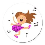 Happy dancing girl in hot pink Round Car Magnet