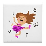 Happy dancing girl in hot pink Tile Coaster