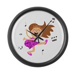 Happy dancing girl in hot pink Large Wall Clock