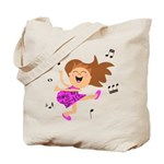Happy dancing girl in hot pink Tote Bag