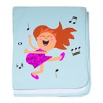Happy dancing girl in hot pink baby blanket