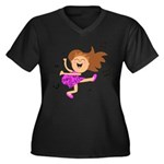 Happy dancing girl in hot pink Plus Size T-Shirt