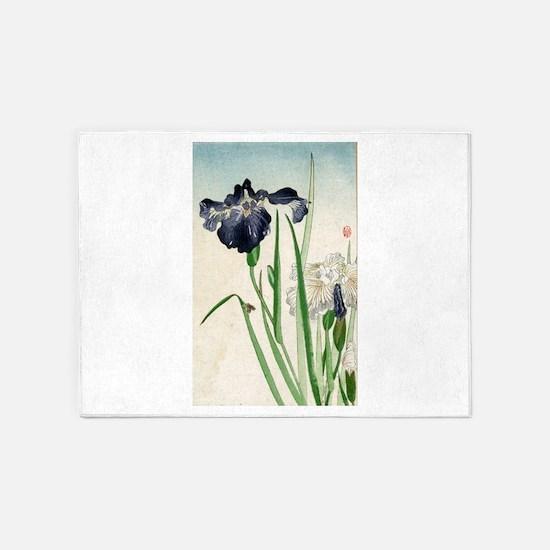 Irises - anon - 1900 - woodcut 5'x7'Area Rug