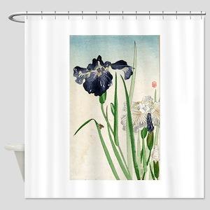 Irises - anon - 1900 - woodcut Shower Curtain