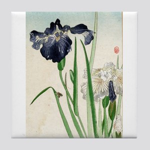 Irises - anon - 1900 - woodcut Tile Coaster