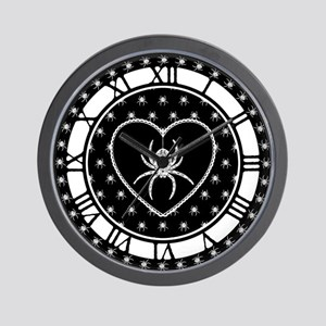 Gothic Spider Heart Wall Clock