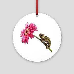 Chameleon Lizard on pink flower Ornament (Round)