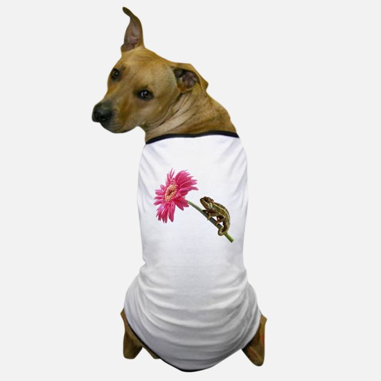 Chameleon Lizard on pink flower Dog T-Shirt