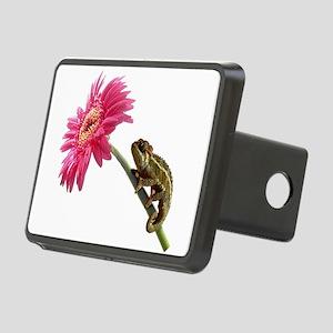 Chameleon Lizard on pink flower Rectangular Hitch