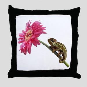 Chameleon Lizard on pink flower Throw Pillow