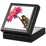 Chameleon Lizard on pink flower Keepsake Box