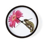 Chameleon Lizard on pink flower Wall Clock