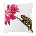 Chameleon Lizard on pink flower Woven Throw Pillow