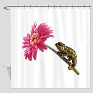 Chameleon Lizard on pink flower Shower Curtain