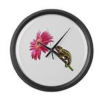 Chameleon Lizard on pink flower Large Wall Clock