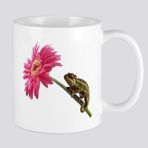 Chameleon Lizard on pink flower Small Mug