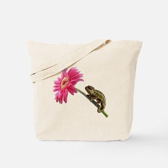Chameleon Lizard on pink flower Tote Bag