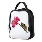 Chameleon Lizard on pink flower Neoprene Lunch Bag