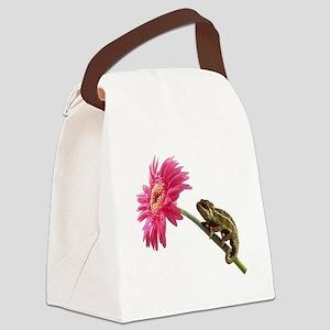 Chameleon Lizard on pink flower Canvas Lunch Bag