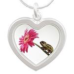 Chameleon Lizard on pink flower Necklaces