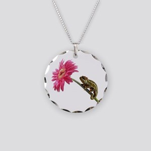 Chameleon Lizard on pink flower Necklace Circle Ch