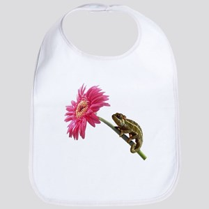 Chameleon Lizard on pink flower Bib