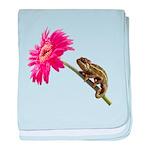 Chameleon Lizard on pink flower baby blanket