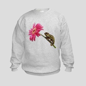 Chameleon Lizard on pink flower Sweatshirt