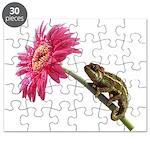 Chameleon Lizard on pink flower Puzzle