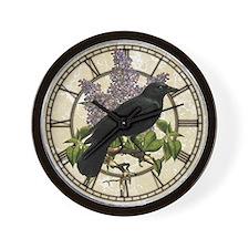Lilacs And Crow Wall Clock