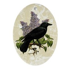 Lilacs And Crow Ornament (Oval)