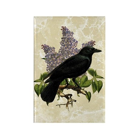 Lilacs And Crow Rectangle Magnet