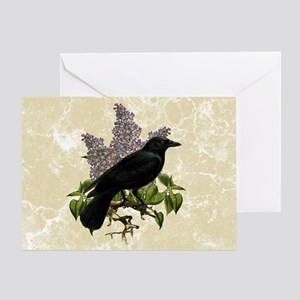 Lilacs And Crow Greeting Card