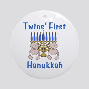 Twins' First Hanukkah Ornament (Round)