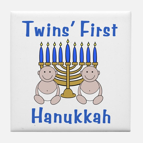Twins' First Hanukkah Tile Coaster