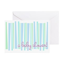 Baby Shower Blue Stripe Invitations (Pk of 10)
