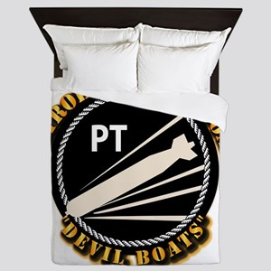 Navy - PT Boats - Devil Boats Queen Duvet