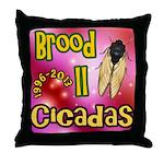 Cicada Brood II Pink Throw Pillow