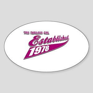 Established in 1978 birthday designs Sticker (Oval
