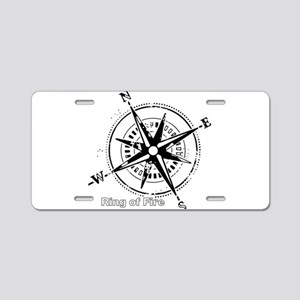 Ring of Fire Graphic Compass Aluminum License Plat