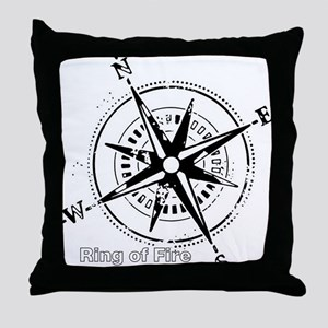 Ring of Fire Graphic Compass Throw Pillow